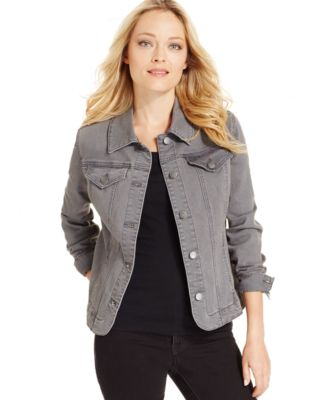 Charter Club Denim Jacket, Canyon Grey Wash - Jackets & Blazers ...