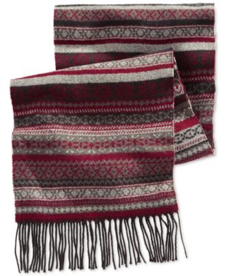 Alfani RED FairIsle Scarf, Only at Macy's - Hats, Gloves & Scarves ...