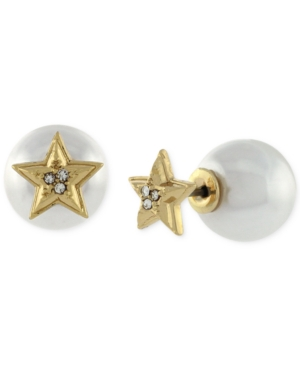 BCBGeneration Gold-Tone Star and Imitation Pearl Front to Back Earrings