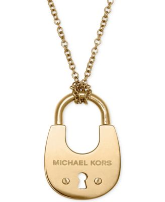 Michael kors rose gold tone padlock charm necklace fashion michael kors padlock pendant necklace mozeypictures Image collections