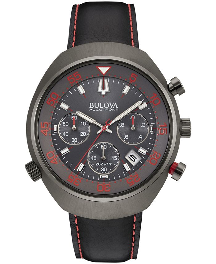 Bulova Accutron - Men's Chronograph UHF Black Leather Strap Watch 45mm 98B252