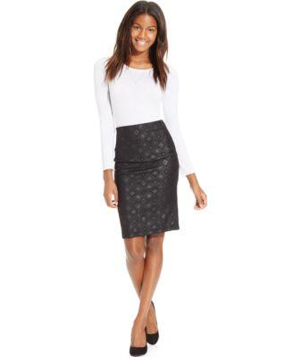 BCX Juniors' High-Waisted Embossed Midi Pencil Skirt - Skirts ...