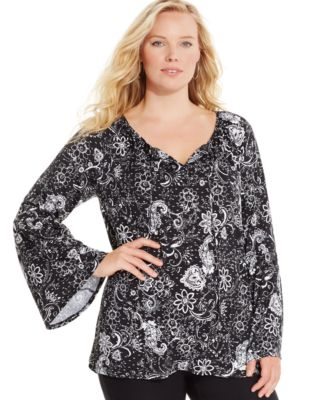 NY Collection Plus Size Printed Tie-Neck Peasant Blouse - Tops ...