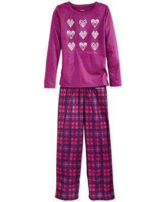 Calvin Klein Girls' or Little Girls' 2-Piece CK Pajamas - Kids ...