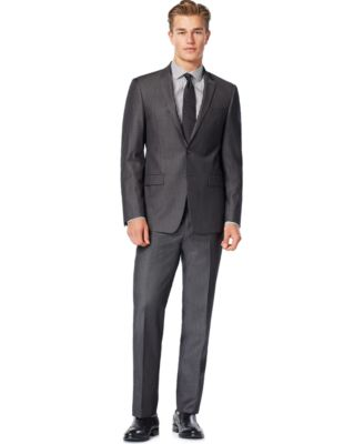 DKNY Charcoal Iridescent Solid Extra Slim-Fit Suit - Suits & Suit ...