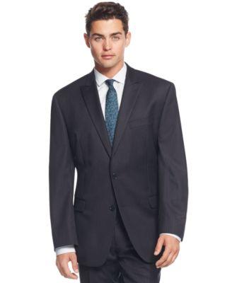 Calvin Klein Navy Pinstripe Peak Lapel Slim-Fit Suit - Suits ...