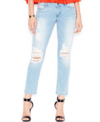 GUESS Ripped Ankle Jeans Berry Bliss Wash - Jeans - Women - Macy&39s