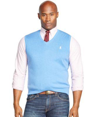 Polo Ralph Lauren Big & Tall Pima V-Neck Vest - Sweaters - Men ...