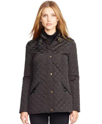 Lauren Ralph Lauren Quilted Faux-Leather Trim Jacket - Coats ... : ralph lauren quilted blazer - Adamdwight.com