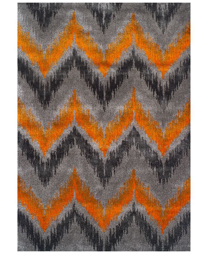 "Dalyn - Modern Abstracts Chevron Tangerine 7'10"" x 10'7"" Area Rug"
