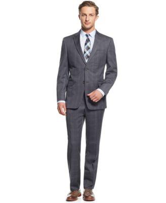 Tommy Hilfiger Grey Plaid Slim-Fit Suit - Suits & Suit Separates ...