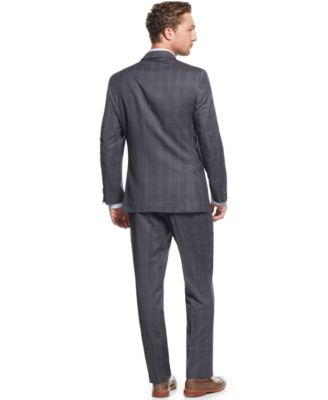 Tommy Hilfiger Grey Plaid Slim-Fit Suit - Suits & Suit Separates ...