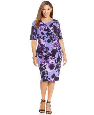 Connected Plus Size Floral Sheath Dress - Dresses - Women - Macy's