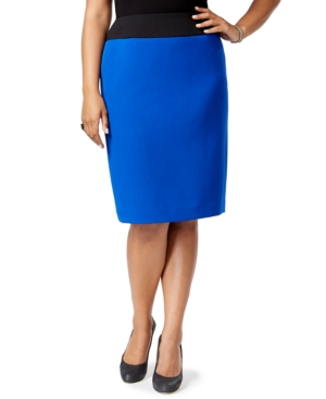 Kasper Plus Size Colorblocked Pencil skirt