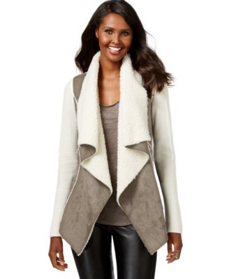 INC International Concepts Faux-Shearling Draped Jacket, Only at ...