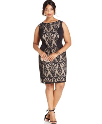 Love Squared Plus Size Lace-Panel Sheath Dress - Dresses - Plus ...