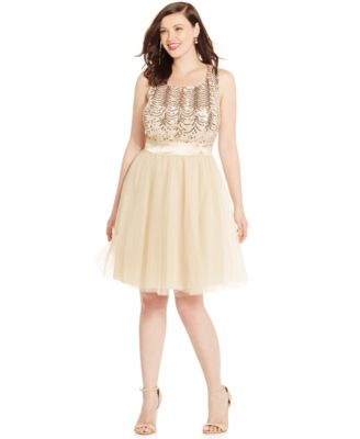 Trixxi Plus Size Sequined Babydoll Party Dress