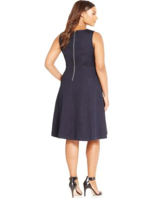 INC International Concepts Plus Size Fit-and-Flare Denim Dress ...