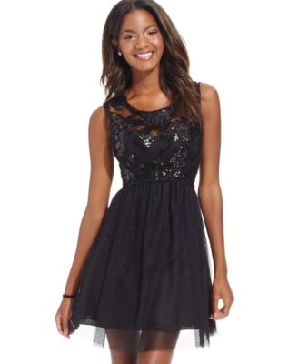 Sequin Hearts Juniors' Sequin Illusion Lace Party Dress - Dresses ...