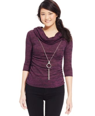 BCX Juniors' Marled Cowl-Neck Necklace Sweater - Tops - Juniors ...
