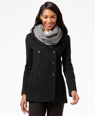 Calvin Klein Wool-Cashmere-Blend Peacoat with Free Infinity Scarf ...