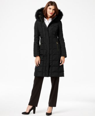 Calvin Klein Faux-Fur-Trim Knee-Length Down Coat - Coats - Women ...
