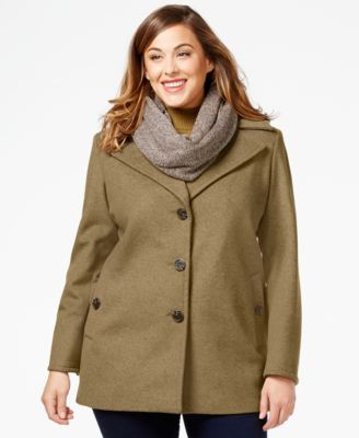 Calvin Klein Plus Size Wool-Cashmere Blend Single-Breasted Peacoat ...