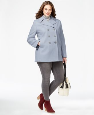 Kenneth Cole Plus Size Double-Breasted Pea Coat - Coats - Women ...