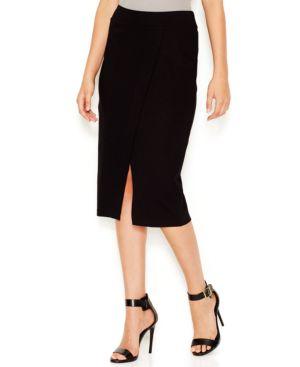kensie Front-Slit Ponte Midi Skirt