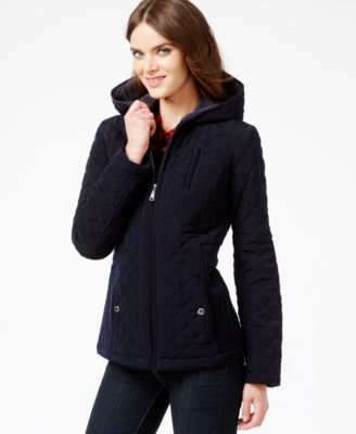 Laundry by Design Petite Faux-Fur-Lined Quilted Velour Coat ...