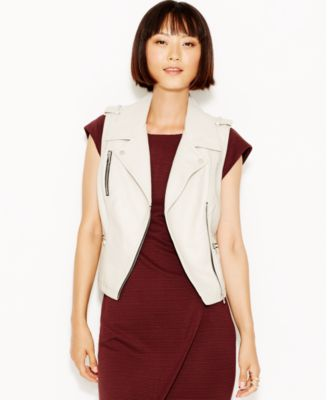 Bar Iii Pebbled Faux Leather Moto Vest Only At Macy S