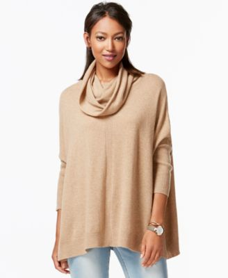 Charter Club Cashmere Cowl-Neck Poncho Sweater - Sweaters - Women ...