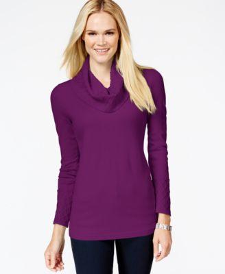 JM Collection Petite Textured Cowl-Neck Sweater, Only at Macy's ...