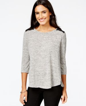 Style & Co. Crochet-Back Swing Tee, Only at Macy's