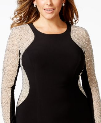 Xscape Plus Size Beaded Stretch Hourglass Gown - Dresses - Women ...