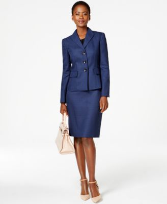 Le Suit Tweed Skirt Suit - All Suits & Suit Separates - Women - Macy's