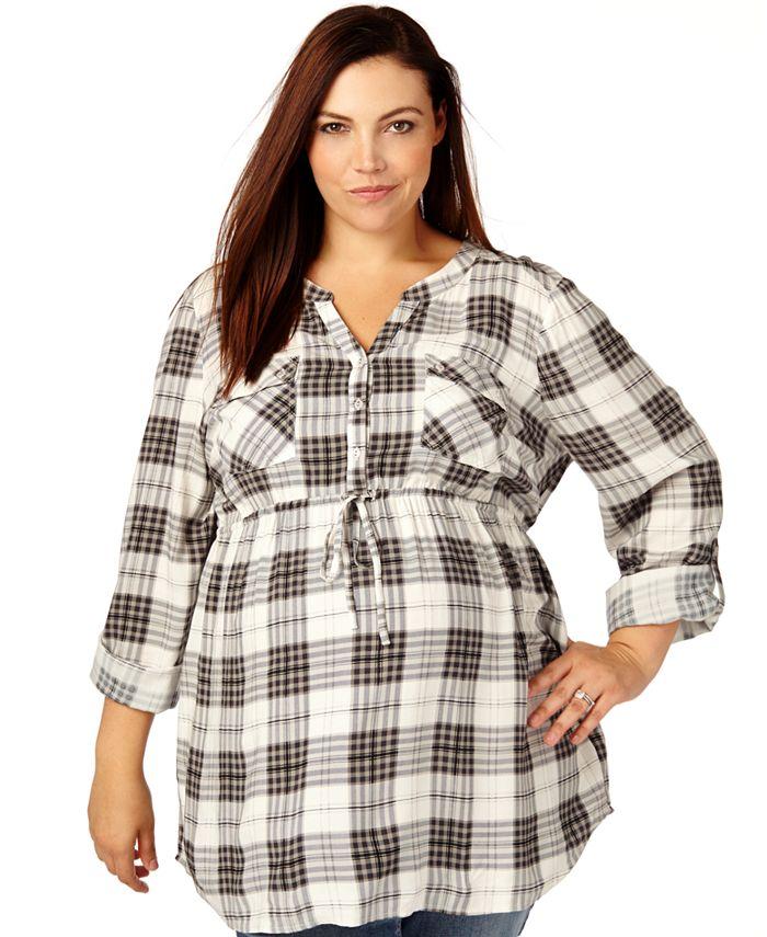 Motherhood Maternity - Maternity Plus Size Plaid Shirt