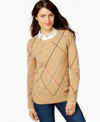 Tommy Hilfiger Multicolor Argyle Sweater - Sweaters - Women - Macy's