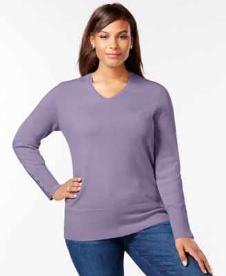 Charter Club Plus Size Cashmere High-Low Sweater - Sweaters - Plus ...