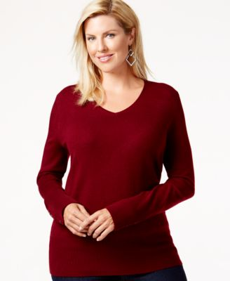 JM Collection Plus Size V-Neck Sweater, Only at Macy's - Sweaters ...