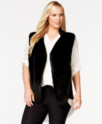 alfani plus size faux-fur vest, only at macy's - plus sizes - macy's