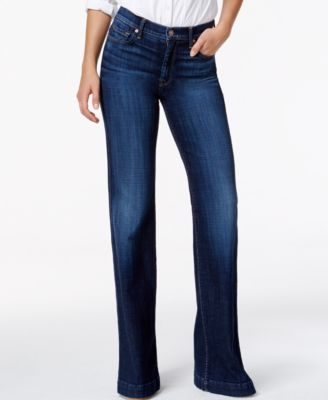7 For All Mankind Ginger Tailorless Flared Jeans, Medium Blue Wash ...