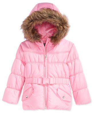 S. Rothschild Little Girls' or Toddler Girls' Belted Puffer Coat ...