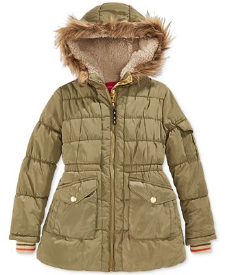 London Fog Girls' Stadium Puffer Coat with Faux Fur Trim - Coats ...