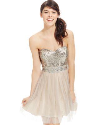 Trixxi Juniors Sequin Retro Party Dress Dresses
