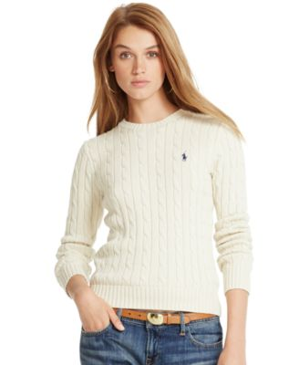 Polo Ralph Lauren Cable-Knit Crew-Neck Sweater - Sweaters - Women ...
