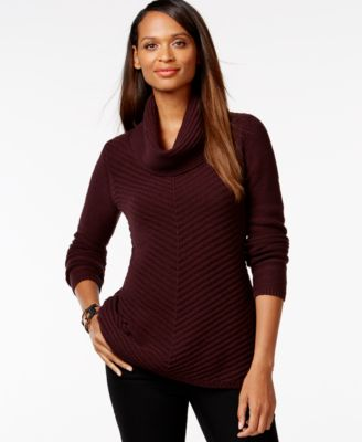 Style & Co. Petite Textured Cowl-Neck Sweater, Only at Macy's ...