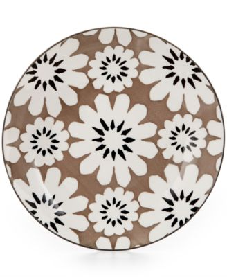 Certified International Chelsea Collection Porcelain Gray Floral Canape Plate