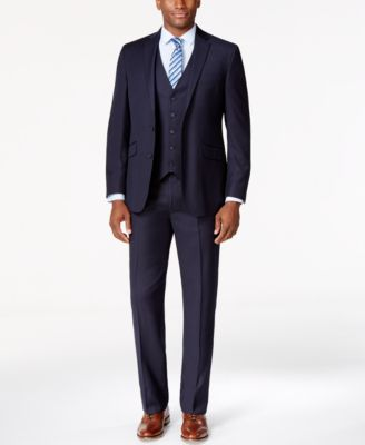 Kenneth Cole Reaction Navy Vested Pinstripe Slim-Fit Suit - Suits ...