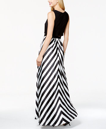 Betsy & Adam Chevron Striped Mesh Popover Gown - Dresses - Women ...